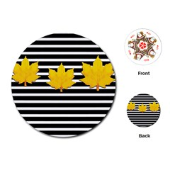 Stripe Yellow Leaves Playing Cards Single Design (round)