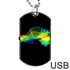 Colorful Smoke On Black Dog Tag Usb Flash (two Sides)