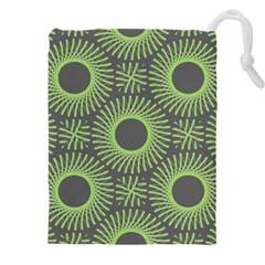 Green Spiky Rings Drawstring Pouch (5xl) by Lotus