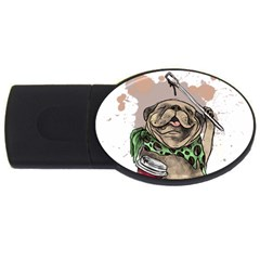 Pug Lover Coffee Usb Flash Drive Oval (2 Gb)