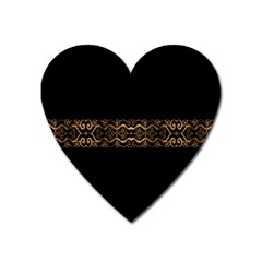Luxury Ornate Minimal Style Dark Print Heart Magnet by dflcprintsclothing