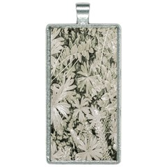 Pale Tropical Floral Print Pattern Rectangle Necklace