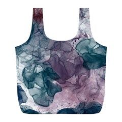 Teal And Purple Alcohol Ink Full Print Recycle Bag (l)