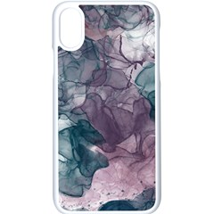 Teal And Purple Alcohol Ink Iphone X Seamless Case (white)