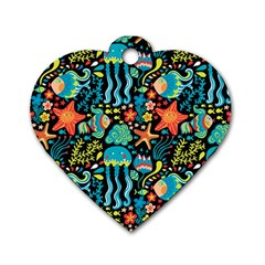 Sea Animals Dog Tag Heart (two Sides)