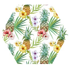 Tropical Pineapples Wooden Puzzle Hexagon by goljakoff