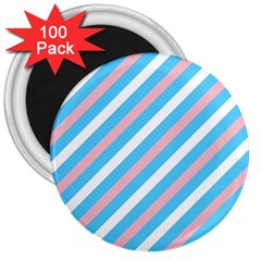 Transgender Pride Diagonal Stripes Pattern 3  Magnets (100 Pack)