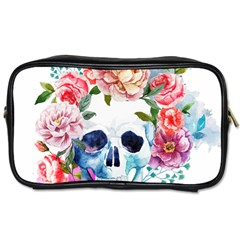 Skull And Flowers Toiletries Bag (one Side) by goljakoff