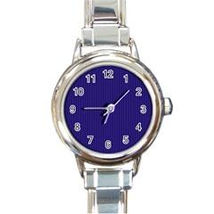 Berry Blue & White - Round Italian Charm Watch by FashionLane