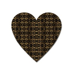 Luxury Golden Oriental Ornate Pattern Heart Magnet by dflcprintsclothing