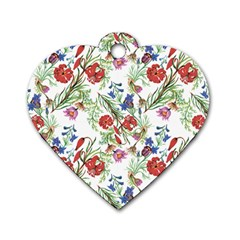Flowers Pattern Dog Tag Heart (two Sides)