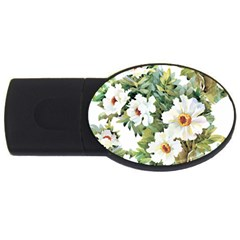 White Flowers Usb Flash Drive Oval (4 Gb)