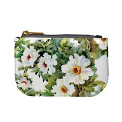 White Flowers Mini Coin Purse