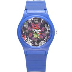 Purple Flowers Round Plastic Sport Watch (s) by goljakoff