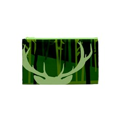 Forest Deer Tree Green Nature Cosmetic Bag (xs)