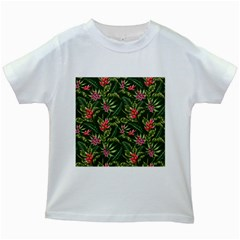 Tropical Flowers Kids White T-shirts by goljakoff