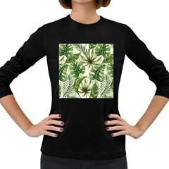 Green Leaves Women s Long Sleeve Dark T-shirt by goljakoff