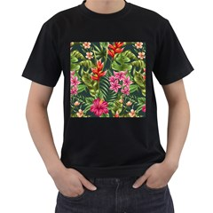 Tropical Flowers Men s T-shirt (black) (two Sided) by goljakoff