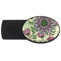 Flower Mandala Usb Flash Drive Oval (4 Gb)