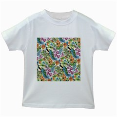 Peacock Pattern Kids White T-shirts by goljakoff