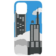Minimal Skyscrapers Blue Iphone 11 Pro Black Uv Print Case by AnjaniArt