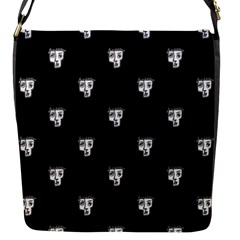 Man Head Caricature Drawing Pattern Flap Closure Messenger Bag (s)