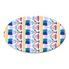 Illustrations Of Fish Texture Modulate Sea Pattern Oval Magnet