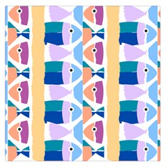 Illustrations Of Fish Texture Modulate Sea Pattern Large Satin Scarf (square) by Alisyart