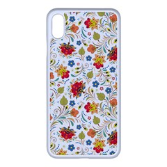 Red Yellow Flower Pattern Iphone Xs Max Seamless Case (white)