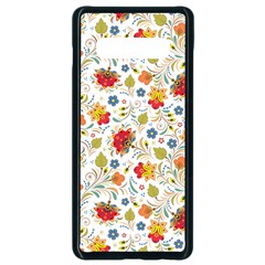 Red Yellow Flower Pattern Samsung Galaxy S10 Plus Seamless Case (black) by designsbymallika