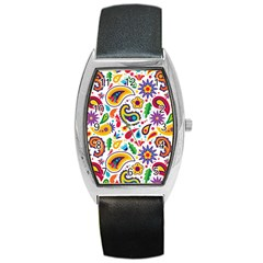 Baatik Print Barrel Style Metal Watch