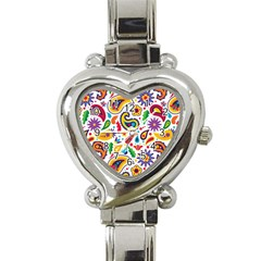 Baatik Print Heart Italian Charm Watch