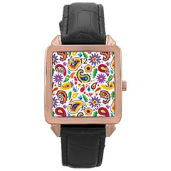 Baatik Print Rose Gold Leather Watch