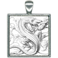 Dragon Lizard Vector Monster Square Necklace