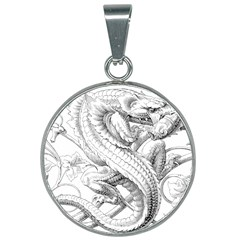Dragon Lizard Vector Monster 25mm Round Necklace