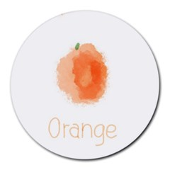 Orange Fruit Watercolor Painted Round Mousepads