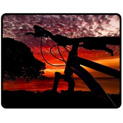 Mountain Bike Parked At Waterfront Park003 Fleece Blanket (medium)