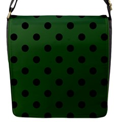 Large Black Polka Dots On Basil Green - Flap Closure Messenger Bag (s)