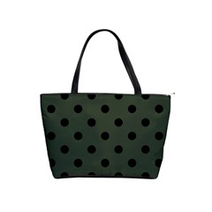 Large Black Polka Dots On Kombu Green - Classic Shoulder Handbag