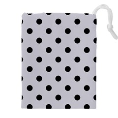 Large Black Polka Dots On Cloudy Grey - Drawstring Pouch (5xl)