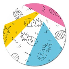 Modern Pineapples Magnet 5  (round)