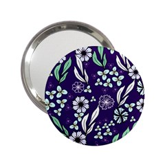 Floral Blue Pattern 2 25  Handbag Mirrors by MintanArt