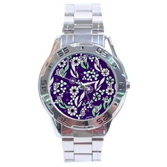 Floral Blue Pattern  Stainless Steel Analogue Watch by MintanArt