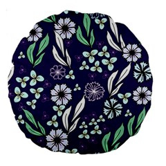 Floral Blue Pattern  Large 18  Premium Round Cushions by MintanArt