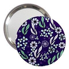 Floral Blue Pattern  3  Handbag Mirrors by MintanArt