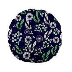 Floral Blue Pattern  Standard 15  Premium Flano Round Cushions by MintanArt