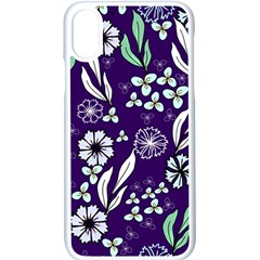 Floral Blue Pattern  Iphone Xs Seamless Case (white)