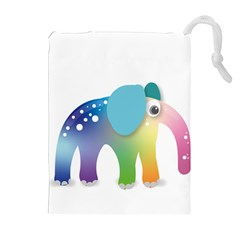 Illustrations Elephant Colorful Pachyderm Drawstring Pouch (xl)