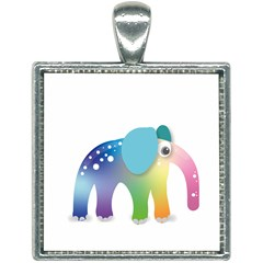 Illustrations Elephant Colorful Pachyderm Square Necklace