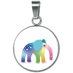 Illustrations Elephant Colorful Pachyderm 20mm Round Necklace